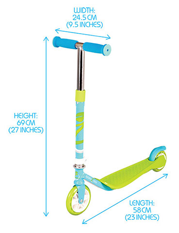 Zycom Mini Dimensions on Scooter Deck Diagram