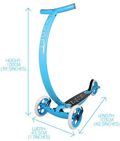 Zycomotion Coast Scooter Dimensions Diagram
